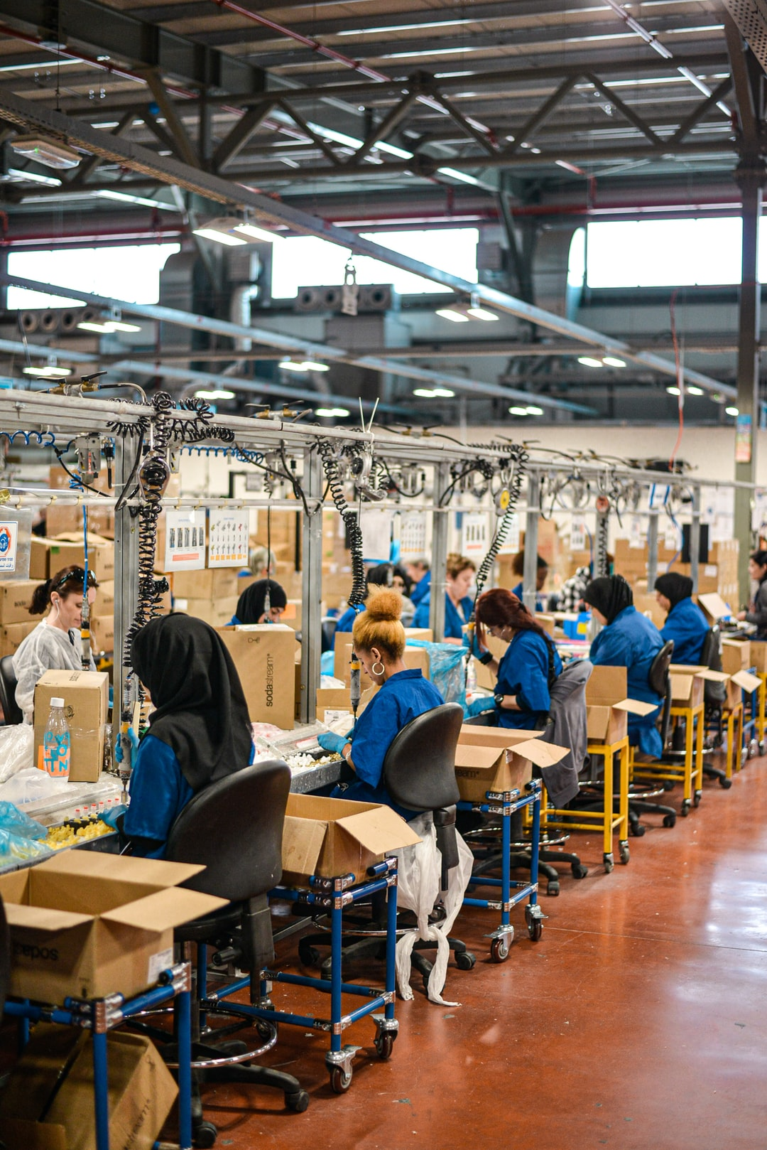Women working on SodaSteam devices at the SodaStream factory in Israel. Shot during press trip to SodaStream factory in 2019.
